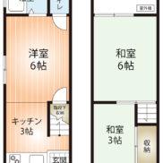 間取り3K、土地面積25.7m2、建物面積35.6m2 (間取)