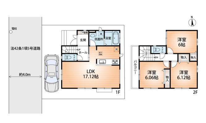 1号棟 参考プラン図 建物1,014万円 土地建物セット価格3,490万円(間取)