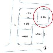 E号地 3,780万円 土地80.42㎡・建物102.50㎡・他私道負担17.86㎡(玄関)