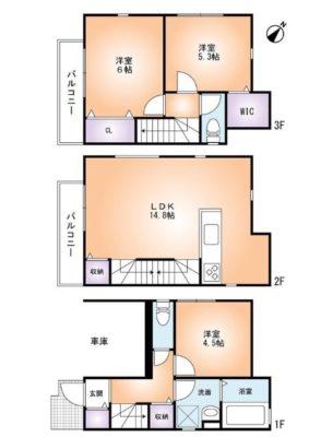 間取り図 2780万円、3LDK、土地面積47.54m2、建物面積83.8m2 ウォークインクローゼットあり♪(間取)